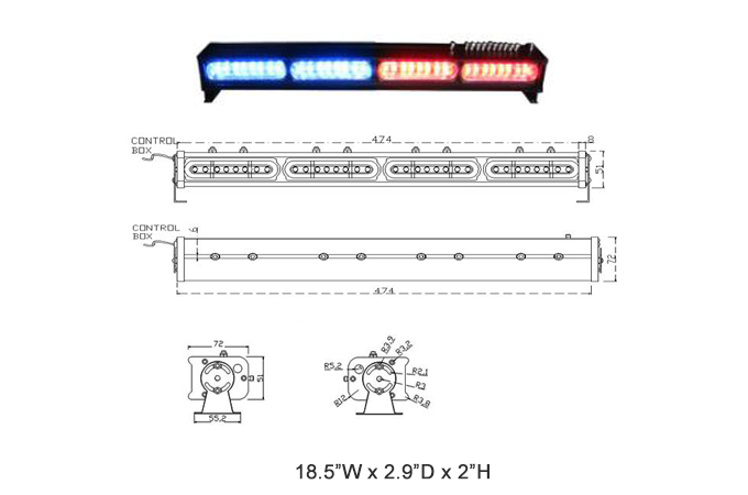 MOSS-9800-4 4-8 LED Module Light Bar Spec