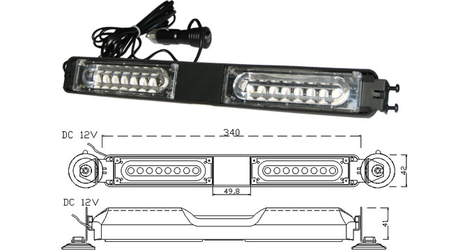 MOSS-981 Windshield Visor Mounbt LED Light Bar Spec